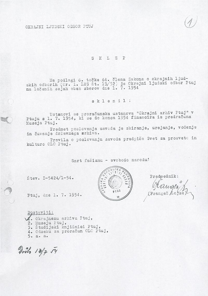 Sklep o ustanovitvi Okrajnega arhiva 1.7.1954